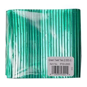 Twist Ties, Green 2000 pack