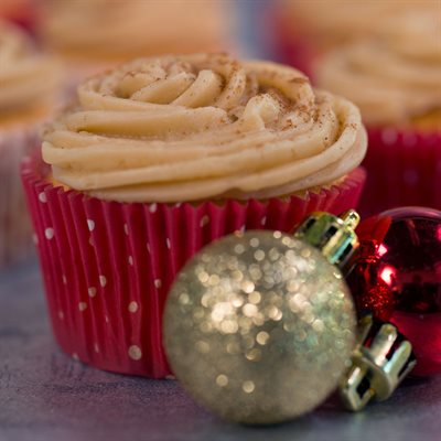 Eggnog Cupcakes with Brown Sugar Cream Cheese Frosting
