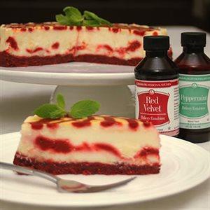 Peppermint Red Velvet Ribbon Cheesecake